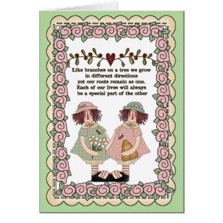 Cartão sentimental das irmãs
