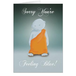 Cartão Sentimento azul - monge