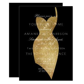 Cartão Sequin formal mínimo Sparkly dourado do vestido