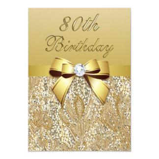 Cartão Sequins e arco do falso do ouro do aniversário do