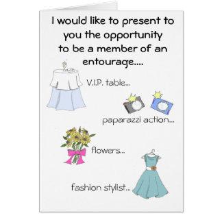 Cartão séquito da dama de honra