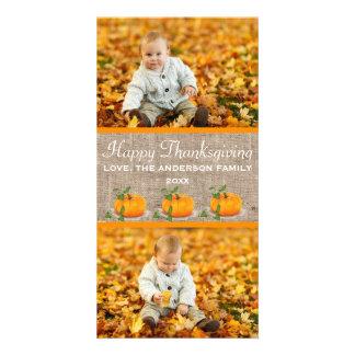 Cartão Serapilheira feliz da acção de graças 2 fotos -