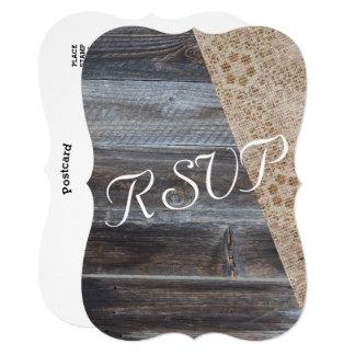 Cartão Serapilheira rústica e RSVP Wedding- de madeira