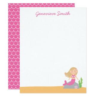 Cartão Sereia cor-de-rosa personalizada