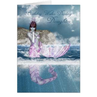 Cartão Sereia da fantasia do aniversário da filha com