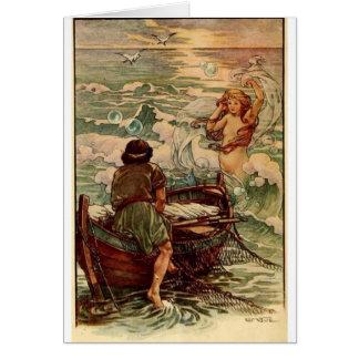 Cartão Sereia e pescador,