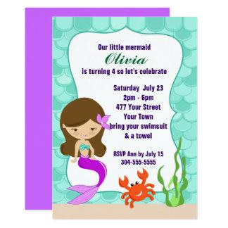 Cartão Sereia sob a festa na piscina do mar