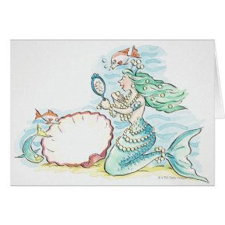 Cartão sereia Verde-de cabelo que veste a grande seleção
