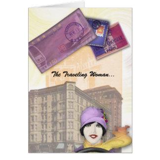 Cartão Série de viagem da mulher - Flapper