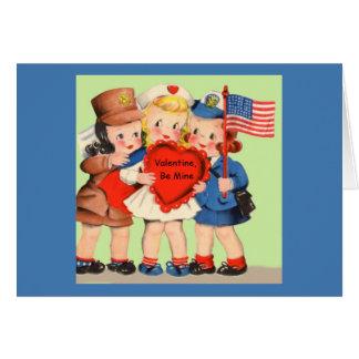 Cartão Servicewoman militar Valentiine de WWII WACS & de