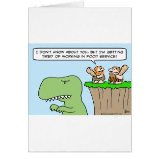 Cartão serviço de alimentação do dinossauro do homem das
