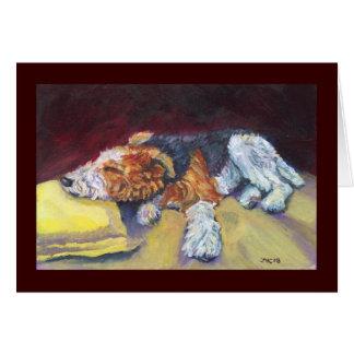 Cartão Sesta do Fox Terrier do fio