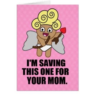 Cartão Seta de salvamento do Cupido última para sua mamã