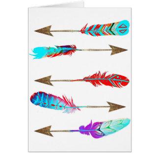 Cartão Setas boémias rústicas de néon coloridas da pena