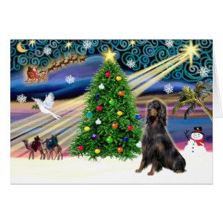 Cartão Setter de Gordon mágico do Natal