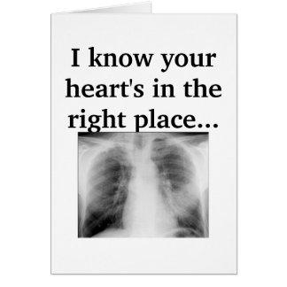 Cartão Seu coração no lugar direito
