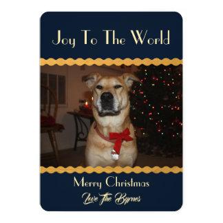 Cartão Seu Natal da foto adiciona o ouro do azul do