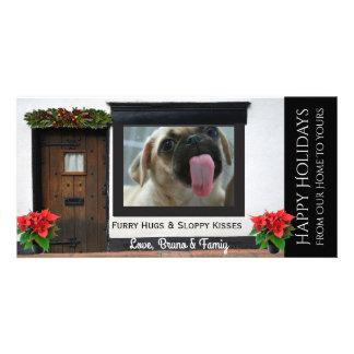 Cartão Seu Natal dos cães que lambe o vidro