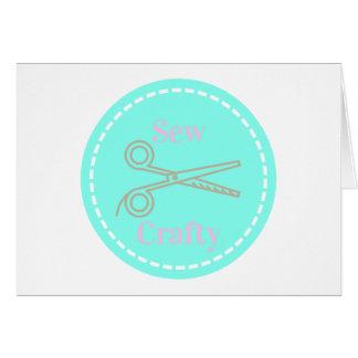 Cartão Sew o Aqua esperto das cinzas do rosa Pastel