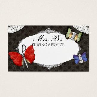 Cartão sewing da costureira das borboletas das