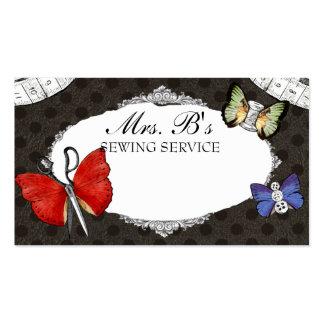 Cartão sewing da costureira das borboletas das cartão de visita