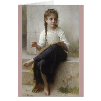 Cartão Sewing por William-Adolphe Bouguereau