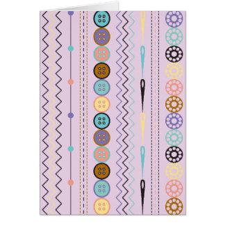 Cartão Sewing retro da listra