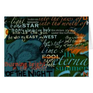 Cartão Shakespeare cita a obscuridade da poesia do amor