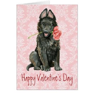 Cartão Sheepdog belga cor-de-rosa dos namorados