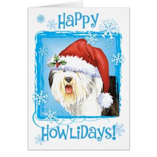 Cartão Sheepdog inglês velho feliz de Howlidays