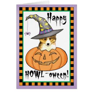 Cartão Sheltie o Dia das Bruxas
