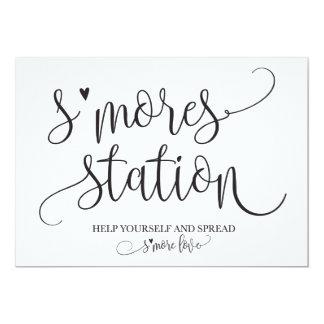 Cartão Signage do partido do favor da estação de S'mores