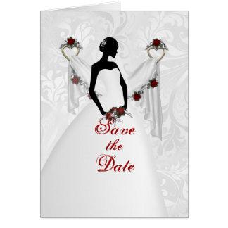 Cartão Silhueta branca do casamento