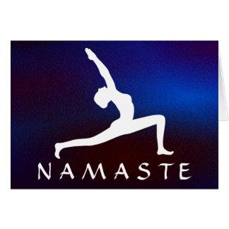 Cartão Silhueta branca Namaste cintilante azul da pose da