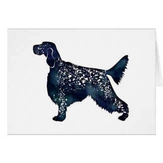 Cartão Silhueta da aguarela do preto do cão do setter