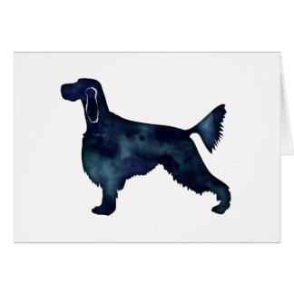 Cartão Silhueta da aguarela do preto do cão do setter de