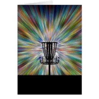 Cartão Silhueta da cesta do golfe do disco