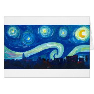 Cartão Silhueta da skyline de Houston com noite estrelado