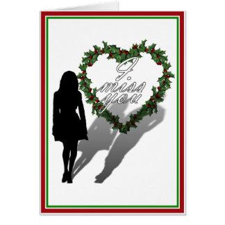 Cartão Silhueta de Natal faltante do homem da mulher