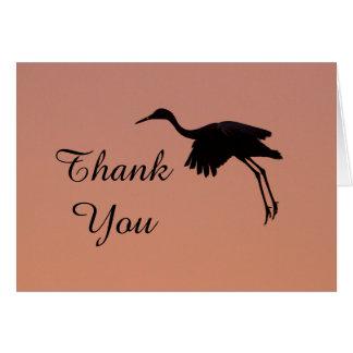 Cartão Silhueta de Sandhill em um obrigado cor-de-rosa do