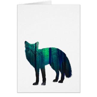 Cartão Silhueta do Fox - raposa da floresta - arte da