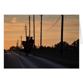 Cartão Silhueta do por do sol de Amish