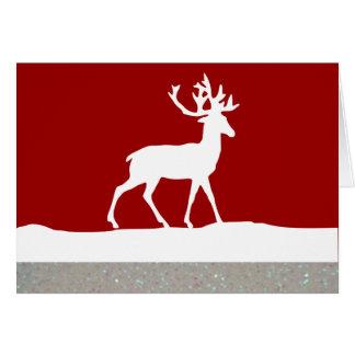 Cartão Silhueta dos cervos - vermelho e branco