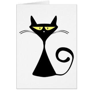Cartão Silhueta dos desenhos animados do gato preto