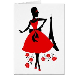 Cartão Silhueta preta vermelha da mulher retro com torre