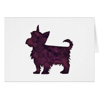 Cartão Silhueta roxa da aguarela de Yorkie