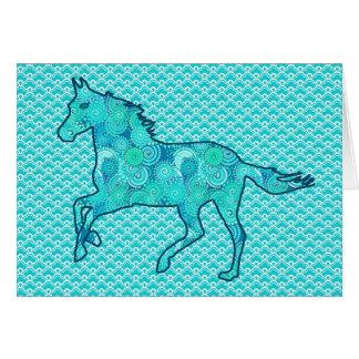 Cartão Silhueta, turquesa e Aqua Running do cavalo