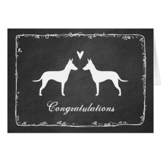Cartão Silhuetas de Manchester Terrier que Wedding