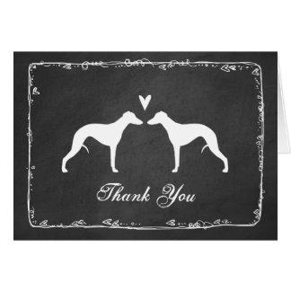 Cartão Silhuetas de Whippet que Wedding o obrigado você