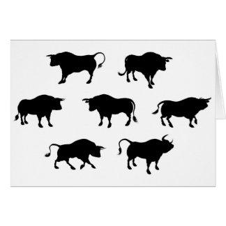Cartão Silhuetas detalhadas de Bull